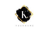 K Letter Logo Design with Black Stroke and Golden Frame. - 139407456