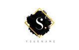 S Letter Logo Design with Black Stroke and Golden Frame. - 139407476