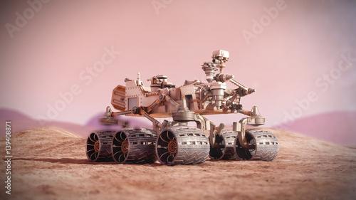 Plexiglas Nasa Mars rover on the Mars. 3d rendering