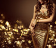 Fashion Model Body in Gold Dress, Woman Elegant Golden Gown, Sexy Unrecognizable Beautiful Lady