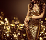 Fototapety Fashion Model Body in Gold Dress, Woman Elegant Golden Gown, Sexy Unrecognizable Beautiful Lady