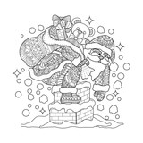 Santa claus on chimney. Hand drawn sketch illustration for adult coloring book.