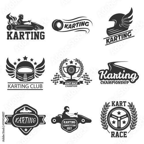 Foto op Plexiglas F1 Karting club or kart races sport vector template icons set
