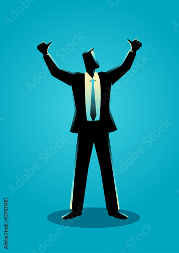 Businessman hands up