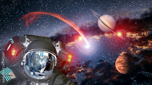 Keuken foto achterwand UFO Astronaut planet Saturn Mars spaceman helmet ufo space martian alien et extraterrestrial. Elements of this image furnished by NASA.