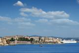 Corfu town and cruiser cityscape summer season Greece