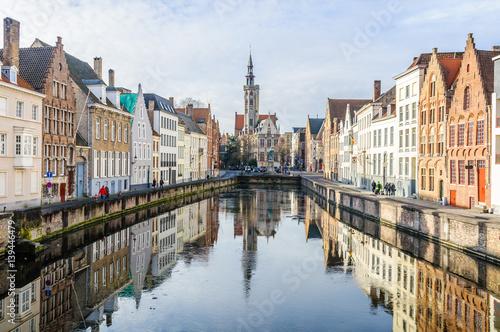 Aluminium Brugge Reflection of church in Bruges, Belgium