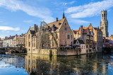Reflection of Rosary Quay in Bruges, Belgium