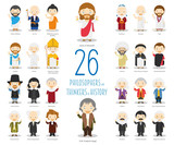 Fototapety Kids Vector Characters Collection: Set of 26 Great Philosophers and Thinkers of History in cartoon style.