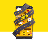 Fototapety Vector taxi mobile app icon