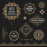 Set of retro vintage graphic design elements for frame, labels, logo symbols and ornamental. Vector illustration - 139456021