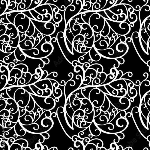 Abstract seamless background pattern with swirls. Vector illustration hand drawn. Fabric swatch, wrapping paper.