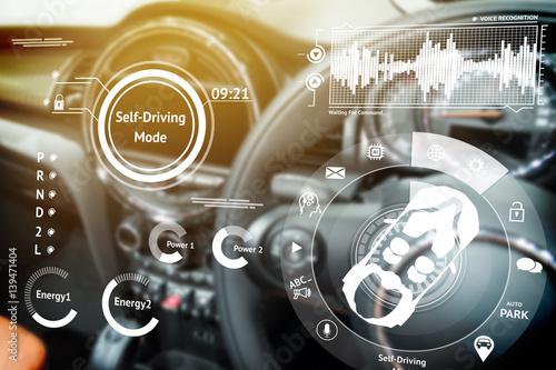 Smart car (HUD) concept. Empty cockpit in vehicle and Self-Driving mode car graphic screen with flare light - 139471404