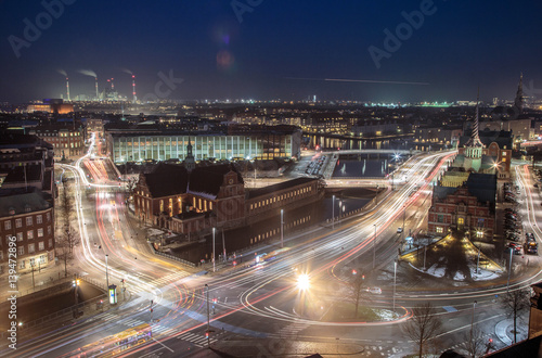 Cityscape of copenhagen long exposure