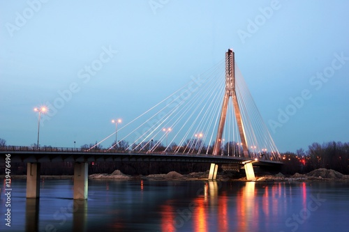 Bridge Swietokrzyski over the Vistula river in Warsaw, Poland