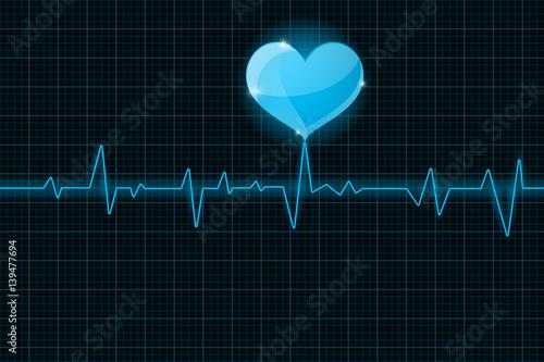 Electrocardiogram sign. Blue waves