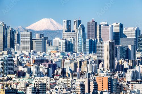 Sticker Tokyo mit Fuji im Hintergrund