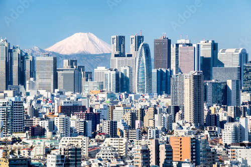 Poster Tokyo mit Fuji im Hintergrund