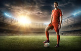 footballer on a soccer field