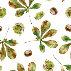 Seamless pattern with chestnut