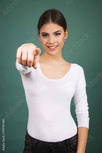girl pointing to  you Poster