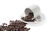 Coffe beans spilled from cup. - 139498424