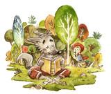 Lobo En El Bosque Leyendo Un Libro Con Caperucita Roja Wall Sticker