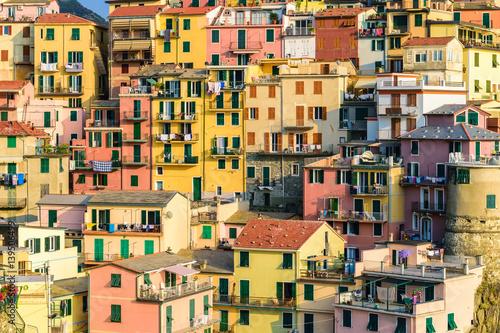 Poster Italy Riviera at Colorful Manarola village, Cinque Terre, Italy