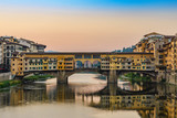 Florence city skyline and Ponte Vecchio Bridge, Florence, Italy