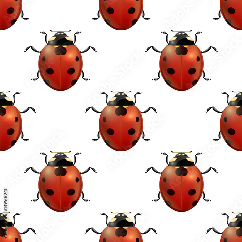 Vector spring seamless pattern witg realistic ladybugs.