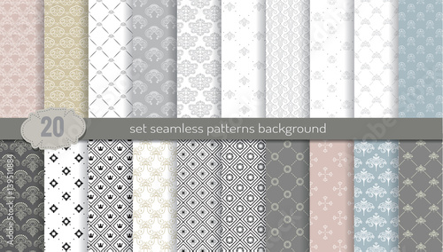 Fototapeta Vector damask seamless pattern background.pattern swatches included for illustrator user, pattern swatches included in file, for your convenient use.