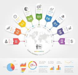 Business timeline elements template. Vector illustrations. Can be used for workflow layout, banner, diagram, number options, web design, infographic template.
