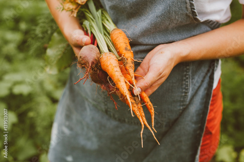 Young Girl with Farm Fresh Vegetables