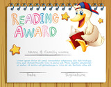 Reading award template with duck reading book