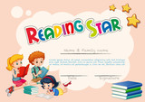 Certificate template for reading star with pink background