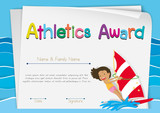 Certificate template for athletics award