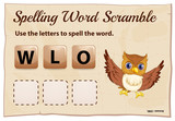 Spelling word scramble game with word owl