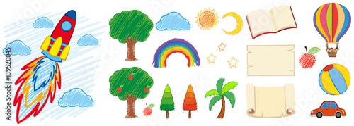 Fototapeta Doodles design for different objects