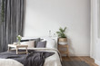 Interior of white and gray cozy bedroom - 139522881