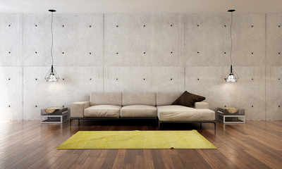The interior design of Modern loft living room and concrete wall