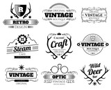 Vintage vector hipster logos and labels set with deer horns