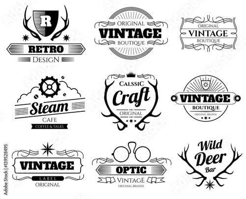 Aluminium Hipster Hert Vintage vector hipster logos and labels set with deer horns
