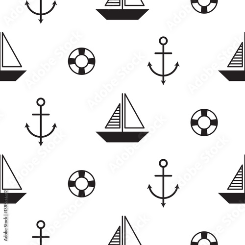 Sailboat seamless nautical vector pattern in scandinavian style. Boats and anchors cute textile fabric surface background. Black and white repeat texture. - 139533602