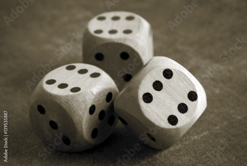 closeup of the dices on table плакат