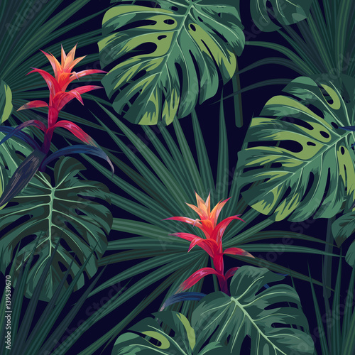 Cotton fabric Exotic tropical background with hawaiian plants and flowers. Seamless vector pattern with green monstera and sabal palm leaves, guzmania flowers.