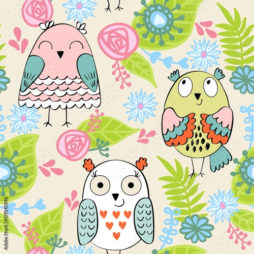 Fototapeta Vector seamless pattern with owls and flowers