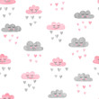 Seamless pattern with watercolor clouds and rain of hearts. Vector illustration.