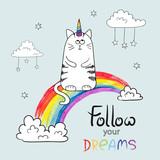 Fototapety Cute cat unicorn. Doodle vector illustration for kids design. Follow your dreams lettering.