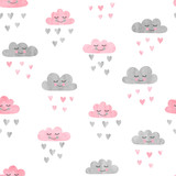 Seamless pattern with watercolor clouds and rain of hearts. Vector illustration.  - 139560638