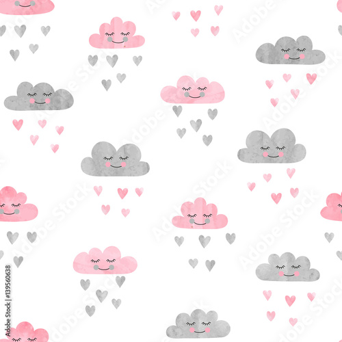 Cotton fabric Seamless pattern with watercolor clouds and rain of hearts. Vector illustration.